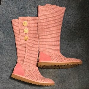 UGG Pink Classic Cardy Knit Boot